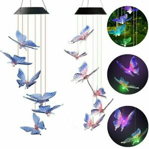 Solar Wind Chimes Powered LED Light Changing Hanging Garden Yard Outdoor Decor