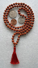Rudraksh Rudraksha Hand Knotted 6-7 mm 108+1 Mantra Mala Beads Necklace