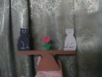 Folk Art Primitive Kinetic Sculpture Cats Wood Seesaw Vintage Charming Neat