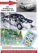 DÉCALS 1/24 réf 871 Renault ALPINE A110 Neyret Monte Carlo 1972
