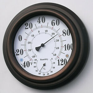 Indoor Outdoor Thermometer - Wall Thermometer Hygrometer for Patio, Wall or