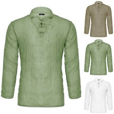 Men's Medieval Pirate Cosplay Shirt Lace Up Front Shirt Tops Fancy Dress Costume