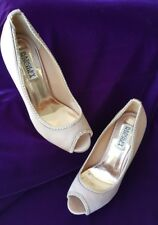 Badgley Mischka Champagne Satin Women's Evening Open Toe Heels