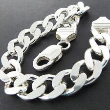 925 Sterling Silver Bracelet Bangle Mens Heavy Bling Italian Solid Cuban Link