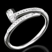 FANCY DESIGN WHITE CUBIC ZIRCONIA ARROW DESIGN STERLING SILVER 925 RING SIZE 6