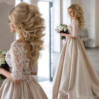 Sexy Champagne Wedding Dress Lace Top Half Sleeve V-Neck Long Bridal Gown 2-16