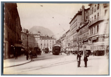 France, Grenoble, Place Grenette Vintage albumen  print.  Tirage albuminé  1
