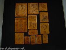 13 x DD Merkenthaler Monogramme, Kupfer Schablonen, Stencils, Patrons broder