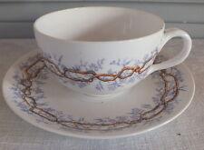 Minton Sarreguemines tasse sous tasse assiette décor mauve et épines