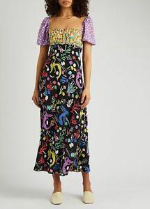 New Rixo Anastasia Printed Panelled Midi Dress Sz S M L