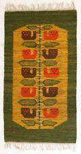 More details for bird song modernist vintage folk art wall hanging rug polish 1970's textile art