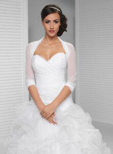 Brautjacke Bolero Tüll Weiss weiss NEU Hochzeit Bridal Chiffon 3/4 Arm
