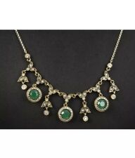 Antique Vintage 925 Silver Emerald and Sapphire Necklace