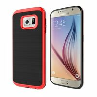 SAMSUNG GALAXY S6 - PREMIUM HYBRID DEFENDER CASE TPU RED PC BUMPER FRAME COVER