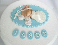 Edible personalised Christening/Baptism cake topper/decoration  praying hands BL