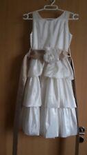 festliches Mädchenkleid Gr.128/134 beige Satin