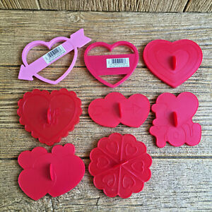 Vintage Valentine's Day Valentine Hearts Plastic Cookie Cutters Wilton Red Pink