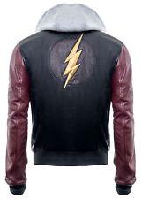 Justice League DC Comics Superhero Flash Hoodie Black Genuine Leather Jacket