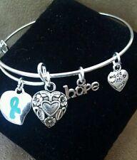 Cervical/Ovarian Cancer Awareness Teal Ribbon Bangle Charm Bracelet Silver