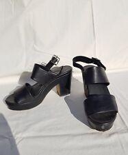 Jo Mercer womens black leather block heels s7.5