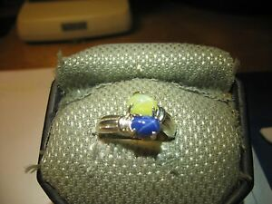 GEMINI 2 STONE BLUE/YELLOW LINDE STAR RING.925 STERLING SILVER SIZE 7
