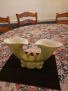 Bauer Pottery Atlanta Green Vintage Double Cornucopia Vase