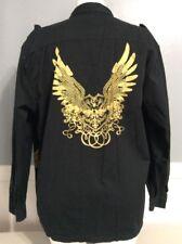Members Property Mens Black Cotton Long Sleeve Studded Button Shirt Sz XL    2D