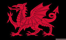 "WELSH DRAGON BLACK mini flag 9"" x 6"" 22cm x 15cm flags WALES"