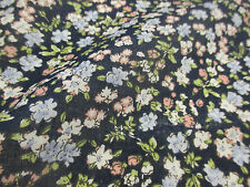 """Navy """"Blossoms"""" Summer Floral Printed 100% Cotton LAWN/VOILE Fabric"""
