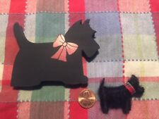 Lot Scottie Dog Vintage Large Dept 56 Eraser & Small Wool Handmade Magnet