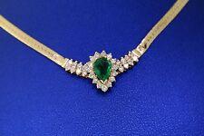 "14k Yellow Gold 1.00 CT Emerald & Diamond Ladies Necklace, 7gm, 17"""