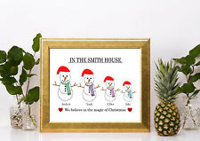 Christmas snowman family tree word art personalised print gift a4 bespoke unique