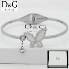 DG Women's Silver Stainless Steel Pearl Butterfly CZ Bangle Bracelet*Box