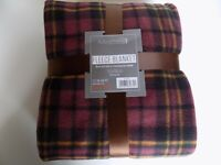 Soft and Warm Double Throw 150x200cm Tartan Check Fleece (Brown Check)