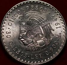 Uncirculated 1947 Mexico 5 Pesos Silver Foreign Coin