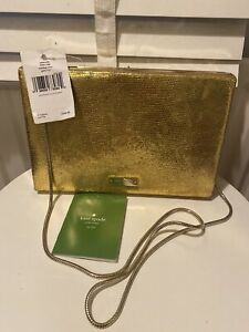 BNWT Kate Spade New York Gold Clutch Chain Shoulder Strap Emanuelle Faulty Clasp