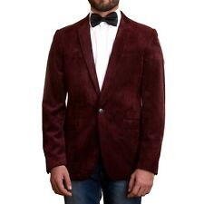Men's Slim Velvet Blazer Suit Smoking Wedding Jacket - Pinstripe Blue or Maroon