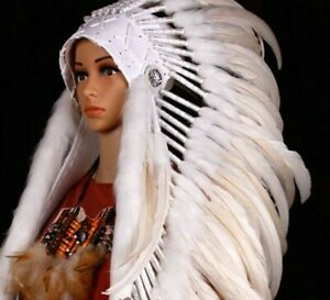 Indian Headdress Chief Feather War Bonnet Native American Costume Party Style