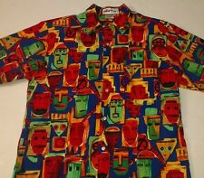 Windjammer Clothing Company St Lucia Camp Shirt Men S Colorful Mask Faces Creepy