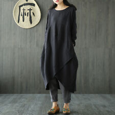 UK 8-24 ZANZEA Women Vintage Long Sleeve Tunic Baggy Long Maxi Dress Plus Size