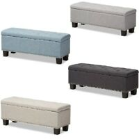 Padded Ottoman Storage Bench Button-Tufted Nail Head Beige Blue Gray Fabric