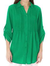 Womens plus size 30 32 34  top Green  shirt longer length loose fit cotton