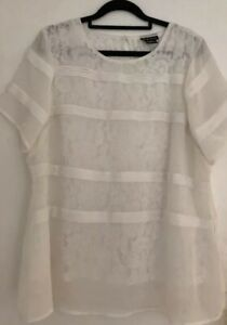CITY CHIC Women's Plus Size XS Top Sheer White Lace Under Layer So Pretty!
