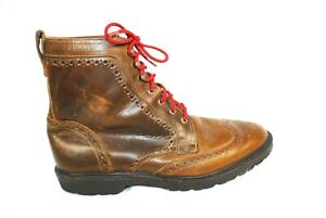 Allen Edmonds Long Branch Leather Wingtip Boots Brown Made In USA Size 13 D USA