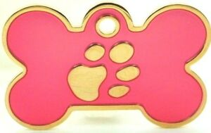Pet Tags ~ Large & Small Gold Paw Print Bones & Large Paw Print Discs Engraved