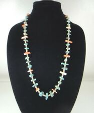 OLD TURQUOISE SPINY OYSTER SHELL HEISHI NAVAJO NECKLACE
