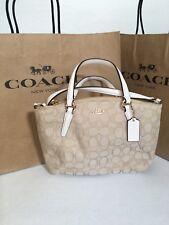 NWT Coach F57830 Mini Kelsey Satchel Signature Crossbody Shoulder Bag Chalk $225