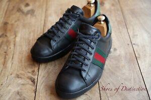 Men's Gucci Black Leather Crocodile Trim Trainers Sneakers Shoes UK 7 EU 41 US 8