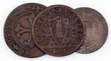 1791-1814 Swiss Cantons Coin Lot (3pcs) 4 Kreuzer to 1 Batzen (VF)