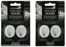 4 x Master Class Adhesive Stainless Steel Kitchen Tea Towel Oval Holder Hooks